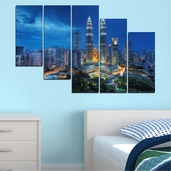 Canvas prints & wall decorative panels - 5 pieces №0326 » Blue, Black, Gray, Dark grey » City, Lights, Night, Skyscraper, Malaysia, Аsia, Petronas, Tower Form #7