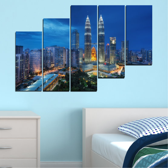 Canvas prints & wall decorative panels - 5 pieces №0326 » Blue, Black, Gray, Dark grey » City, Lights, Night, Skyscraper, Malaysia, Аsia, Petronas, Tower Form #8