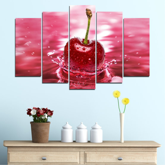 Canvas prints & wall decorative panels - 5 pieces №0327 » Red, Pink, Brown, White, Milky pink » Water, Drops, Fruits, Cherries Form #1