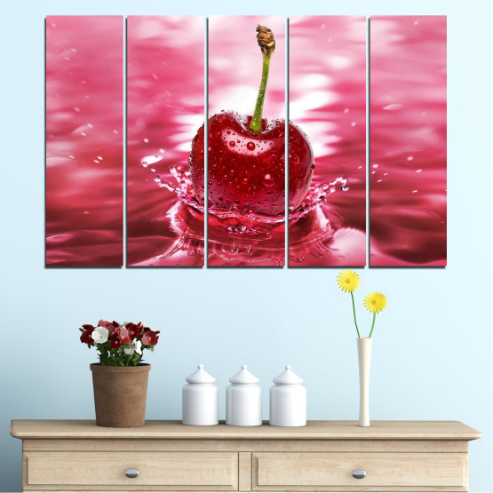 Canvas prints & wall decorative panels - 5 pieces №0327 » Red, Pink, Brown, White, Milky pink » Water, Drops, Fruits, Cherries Form #2