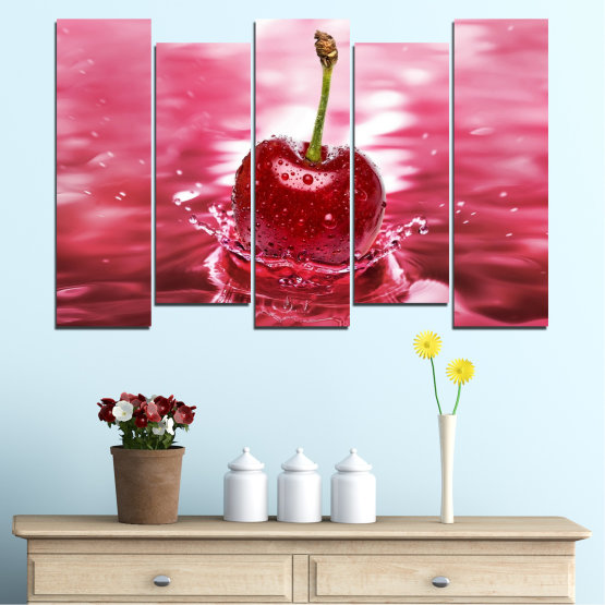 Canvas prints & wall decorative panels - 5 pieces №0327 » Red, Pink, Brown, White, Milky pink » Water, Drops, Fruits, Cherries Form #3