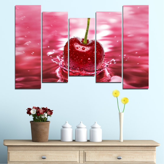 Canvas prints & wall decorative panels - 5 pieces №0327 » Red, Pink, Brown, White, Milky pink » Water, Drops, Fruits, Cherries Form #4