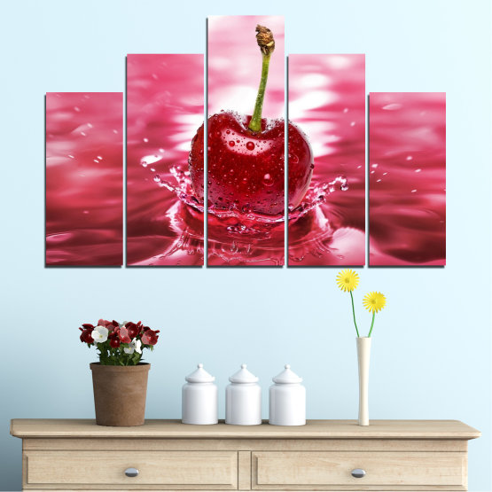 Canvas prints & wall decorative panels - 5 pieces №0327 » Red, Pink, Brown, White, Milky pink » Water, Drops, Fruits, Cherries Form #5