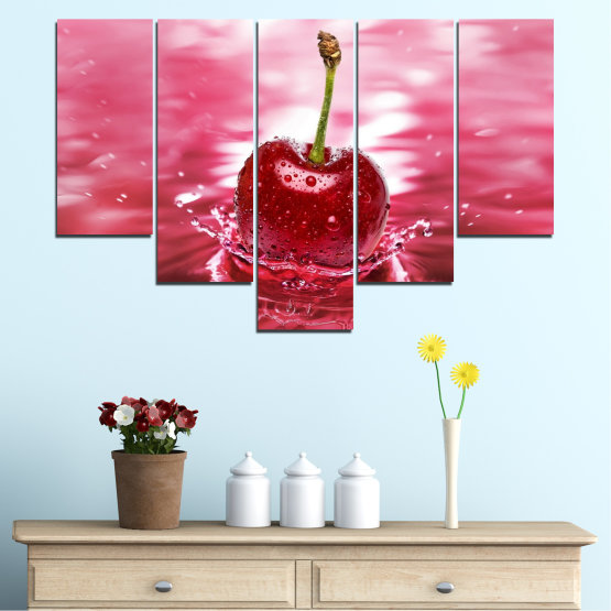 Canvas prints & wall decorative panels - 5 pieces №0327 » Red, Pink, Brown, White, Milky pink » Water, Drops, Fruits, Cherries Form #6