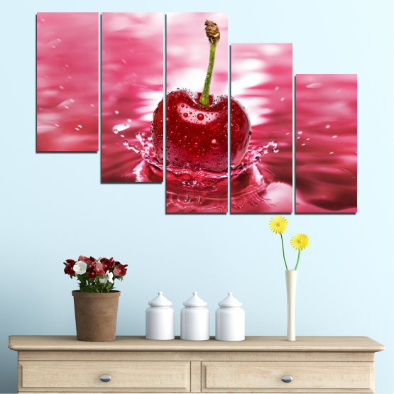 Canvas prints & wall decorative panels - 5 pieces №0327 » Red, Pink, Brown, White, Milky pink » Water, Drops, Fruits, Cherries Form #7