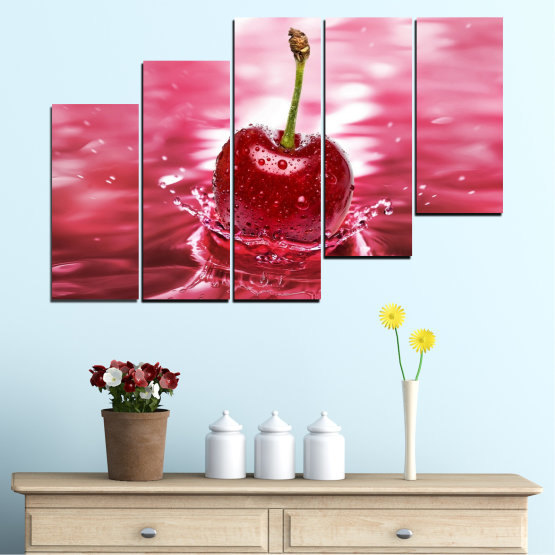 Canvas prints & wall decorative panels - 5 pieces №0327 » Red, Pink, Brown, White, Milky pink » Water, Drops, Fruits, Cherries Form #8
