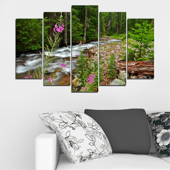 Canvas prints & wall decorative panels - 5 pieces №0329 » Green, Brown, Black, Gray, Dark grey » Landscape, Nature, Forest, Water, Freshness, River Form #1