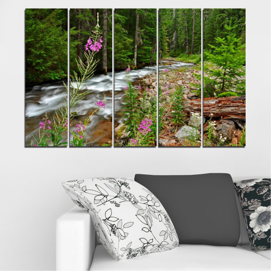 Canvas prints & wall decorative panels - 5 pieces №0329 » Green, Brown, Black, Gray, Dark grey » Landscape, Nature, Forest, Water, Freshness, River Form #2