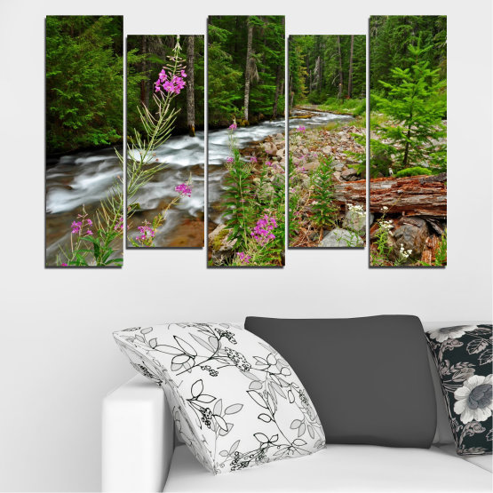 Canvas prints & wall decorative panels - 5 pieces №0329 » Green, Brown, Black, Gray, Dark grey » Landscape, Nature, Forest, Water, Freshness, River Form #3