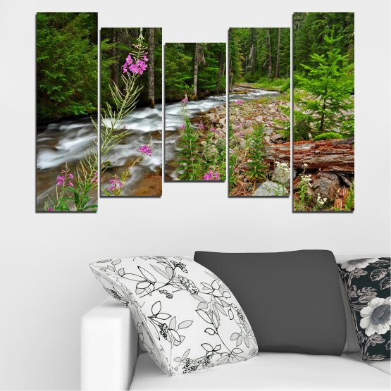 Canvas prints & wall decorative panels - 5 pieces №0329 » Green, Brown, Black, Gray, Dark grey » Landscape, Nature, Forest, Water, Freshness, River Form #4