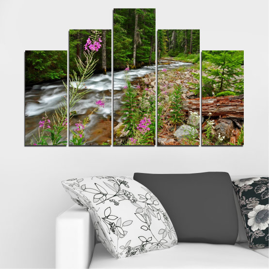 Canvas prints & wall decorative panels - 5 pieces №0329 » Green, Brown, Black, Gray, Dark grey » Landscape, Nature, Forest, Water, Freshness, River Form #5