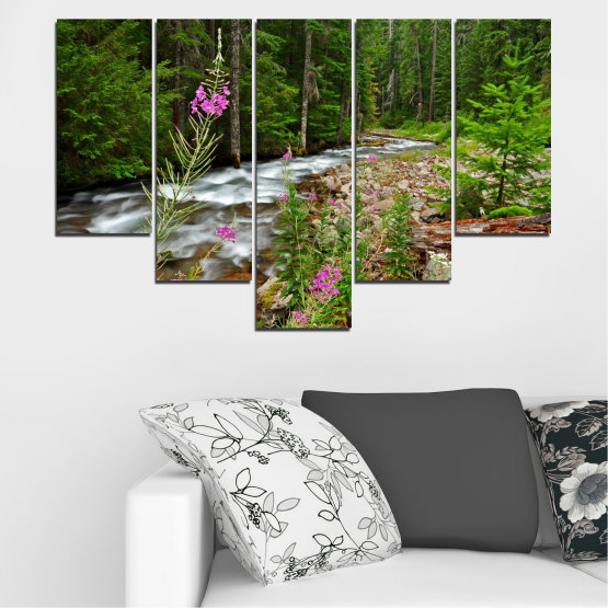 Canvas prints & wall decorative panels - 5 pieces №0329 » Green, Brown, Black, Gray, Dark grey » Landscape, Nature, Forest, Water, Freshness, River Form #6