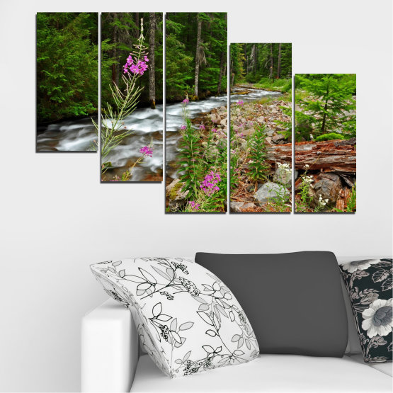Canvas prints & wall decorative panels - 5 pieces №0329 » Green, Brown, Black, Gray, Dark grey » Landscape, Nature, Forest, Water, Freshness, River Form #7