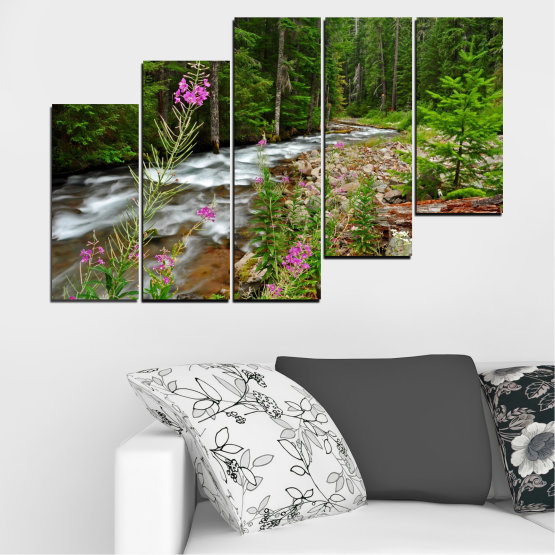 Canvas prints & wall decorative panels - 5 pieces №0329 » Green, Brown, Black, Gray, Dark grey » Landscape, Nature, Forest, Water, Freshness, River Form #8