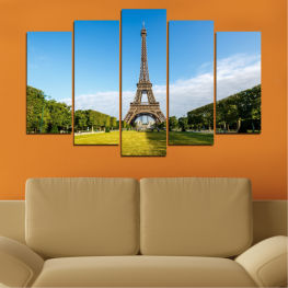 View, Landmark, Eiffel tower, Paris, France, Capital » Blue, Turquoise, Black, Gray
