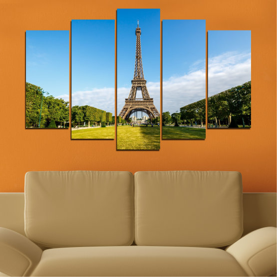 Canvas prints & wall decorative panels - 5 pieces №0033 » Blue, Turquoise, Black, Gray » Landmark, View, Eiffel tower, Paris, France, Capital Form #1