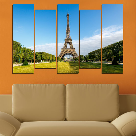 Canvas prints & wall decorative panels - 5 pieces №0033 » Blue, Turquoise, Black, Gray » Landmark, View, Eiffel tower, Paris, France, Capital Form #3