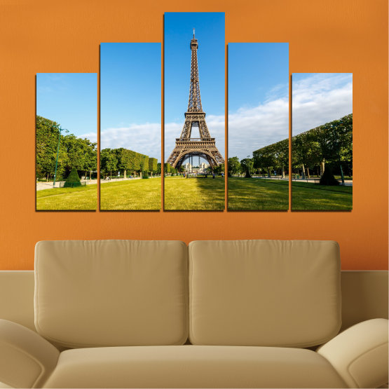 Canvas prints & wall decorative panels - 5 pieces №0033 » Blue, Turquoise, Black, Gray » Landmark, View, Eiffel tower, Paris, France, Capital Form #5