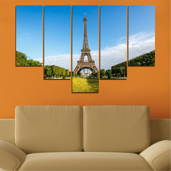 Canvas prints & wall decorative panels - 5 pieces №0033 » Blue, Turquoise, Black, Gray » Landmark, View, Eiffel tower, Paris, France, Capital Form #6