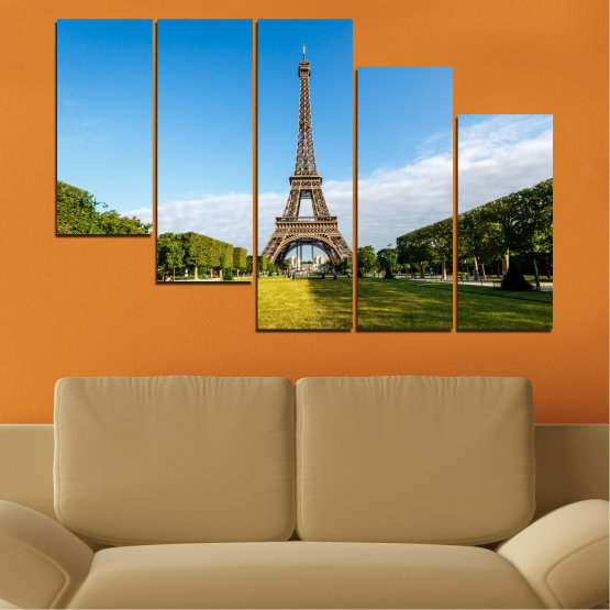 Canvas prints & wall decorative panels - 5 pieces №0033 » Blue, Turquoise, Black, Gray » Landmark, View, Eiffel tower, Paris, France, Capital Form #7