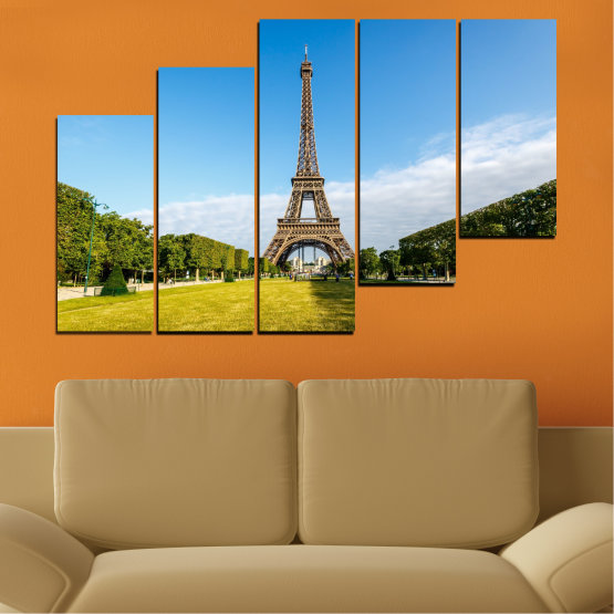 Canvas prints & wall decorative panels - 5 pieces №0033 » Blue, Turquoise, Black, Gray » Landmark, View, Eiffel tower, France, Paris, Capital Form #8