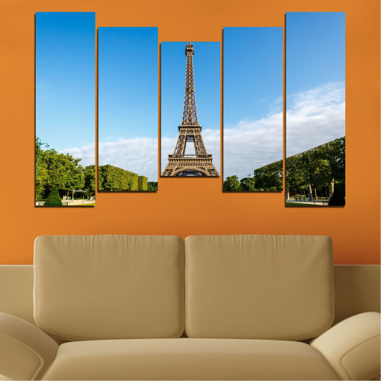 Canvas prints & wall decorative panels - 5 pieces №0033 » Blue, Turquoise, Black, Gray » Landmark, View, Eiffel tower, Paris, France, Capital Form #4