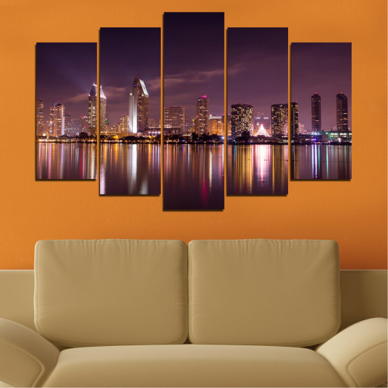 Canvas prints & wall decorative panels - 5 pieces №0330 » Brown, Black, Gray, Dark grey » Water, City, Lights, Reflection, Night, Skyscraper Form #1