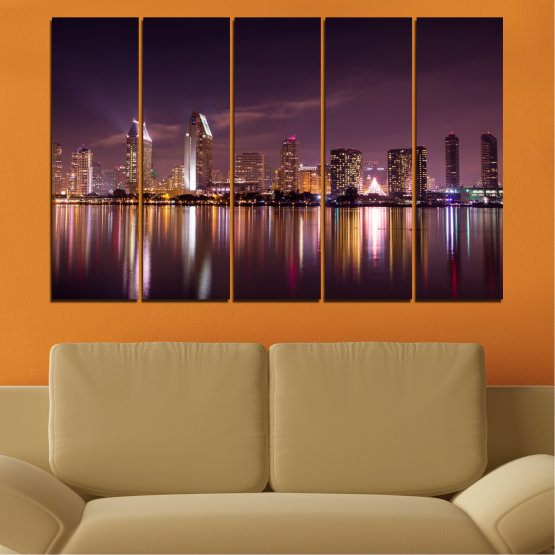 Canvas prints & wall decorative panels - 5 pieces №0330 » Brown, Black, Gray, Dark grey » Water, City, Lights, Reflection, Night, Skyscraper Form #2