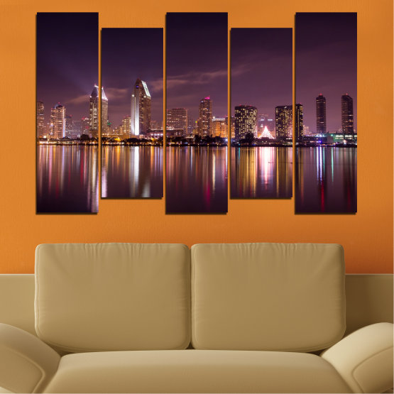 Canvas prints & wall decorative panels - 5 pieces №0330 » Brown, Black, Gray, Dark grey » Water, City, Lights, Reflection, Night, Skyscraper Form #3