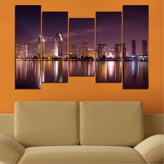 Canvas prints & wall decorative panels - 5 pieces №0330 » Brown, Black, Gray, Dark grey » Water, City, Lights, Reflection, Night, Skyscraper Form #4