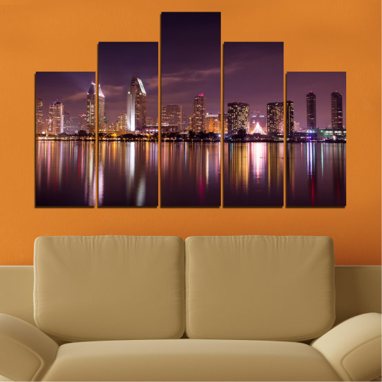 Canvas prints & wall decorative panels - 5 pieces №0330 » Brown, Black, Gray, Dark grey » Water, City, Lights, Reflection, Night, Skyscraper Form #5