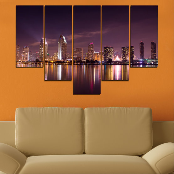 Canvas prints & wall decorative panels - 5 pieces №0330 » Brown, Black, Gray, Dark grey » Water, City, Lights, Reflection, Night, Skyscraper Form #6