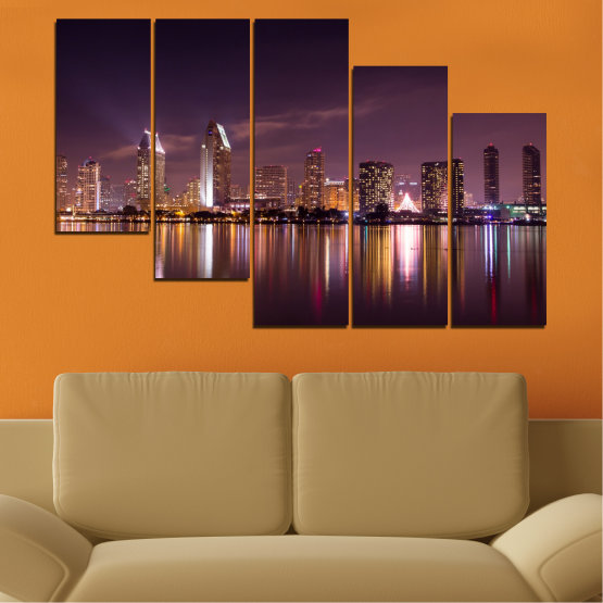 Canvas prints & wall decorative panels - 5 pieces №0330 » Brown, Black, Gray, Dark grey » Water, City, Lights, Reflection, Night, Skyscraper Form #7
