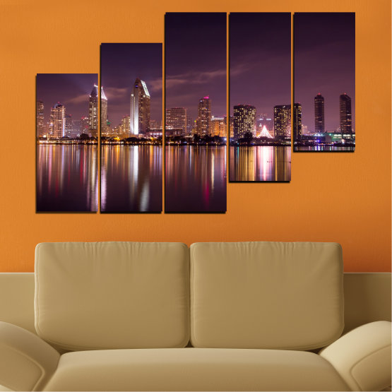 Canvas prints & wall decorative panels - 5 pieces №0330 » Brown, Black, Gray, Dark grey » Water, City, Lights, Reflection, Night, Skyscraper Form #8