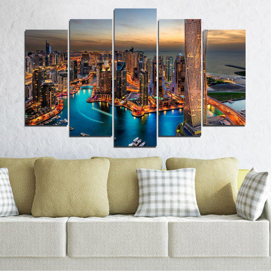 Canvas prints & wall decorative panels - 5 pieces №0331 » Brown, Black, Gray, Beige, Dark grey » Water, Sunset, City, Dubai, Lights, Skyscraper Form #1