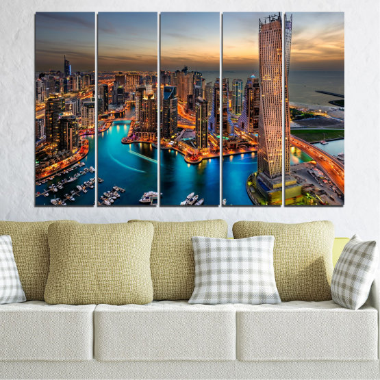Canvas prints & wall decorative panels - 5 pieces №0331 » Brown, Black, Gray, Beige, Dark grey » Water, Sunset, City, Dubai, Lights, Skyscraper Form #2