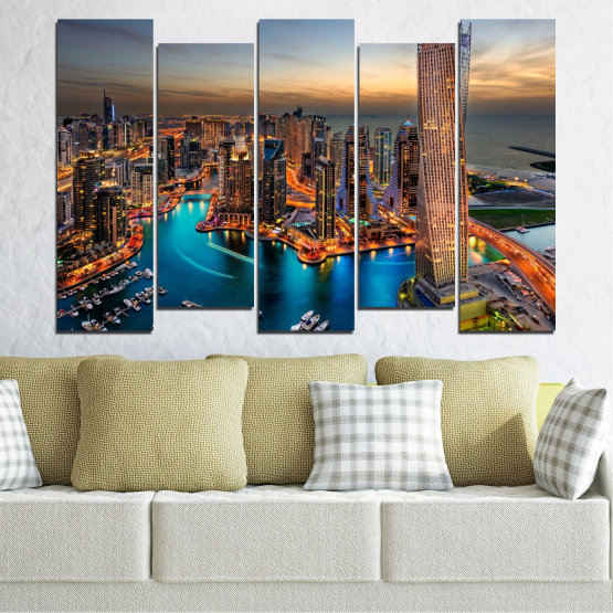 Canvas prints & wall decorative panels - 5 pieces №0331 » Brown, Black, Gray, Beige, Dark grey » Water, Sunset, City, Dubai, Lights, Skyscraper Form #3