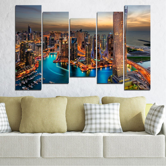 Canvas prints & wall decorative panels - 5 pieces №0331 » Brown, Black, Gray, Beige, Dark grey » Water, Sunset, City, Dubai, Lights, Skyscraper Form #4
