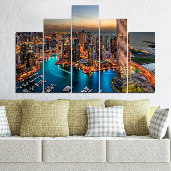 Canvas prints & wall decorative panels - 5 pieces №0331 » Brown, Black, Gray, Beige, Dark grey » Water, Sunset, City, Dubai, Lights, Skyscraper Form #5