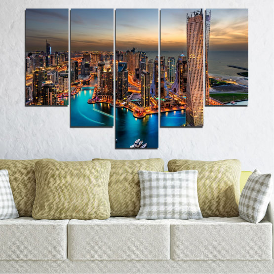 Canvas prints & wall decorative panels - 5 pieces №0331 » Brown, Black, Gray, Beige, Dark grey » Water, Sunset, City, Dubai, Lights, Skyscraper Form #6