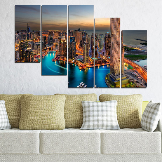 Canvas prints & wall decorative panels - 5 pieces №0331 » Brown, Black, Gray, Beige, Dark grey » Water, Sunset, City, Dubai, Lights, Skyscraper Form #7