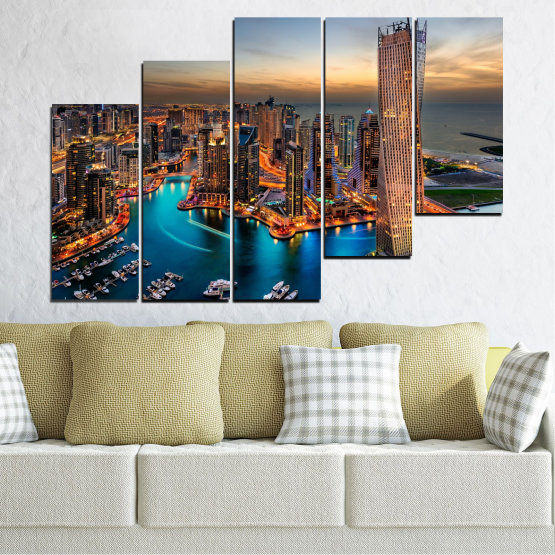 Canvas prints & wall decorative panels - 5 pieces №0331 » Brown, Black, Gray, Beige, Dark grey » Water, Sunset, City, Dubai, Lights, Skyscraper Form #8