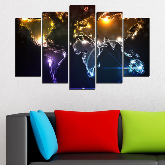 Canvas prints & wall decorative panels - 5 pieces №0332 » Brown, Black, White, Dark grey » Abstraction, Geography, Shine, Map Form #1
