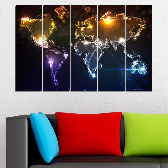 Canvas prints & wall decorative panels - 5 pieces №0332 » Brown, Black, White, Dark grey » Abstraction, Geography, Shine, Map Form #2