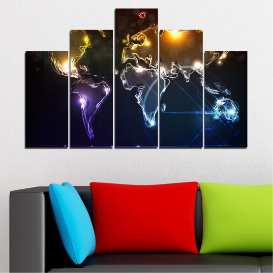 Canvas prints & wall decorative panels - 5 pieces №0332 » Brown, Black, White, Dark grey » Abstraction, Geography, Shine, Map Form #5