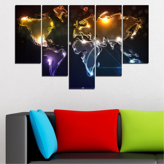 Canvas prints & wall decorative panels - 5 pieces №0332 » Brown, Black, White, Dark grey » Abstraction, Geography, Shine, Map Form #6