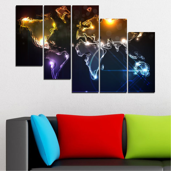 Canvas prints & wall decorative panels - 5 pieces №0332 » Brown, Black, White, Dark grey » Abstraction, Geography, Shine, Map Form #7