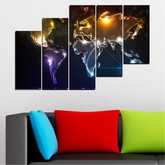 Canvas prints & wall decorative panels - 5 pieces №0332 » Brown, Black, White, Dark grey » Abstraction, Geography, Shine, Map Form #8