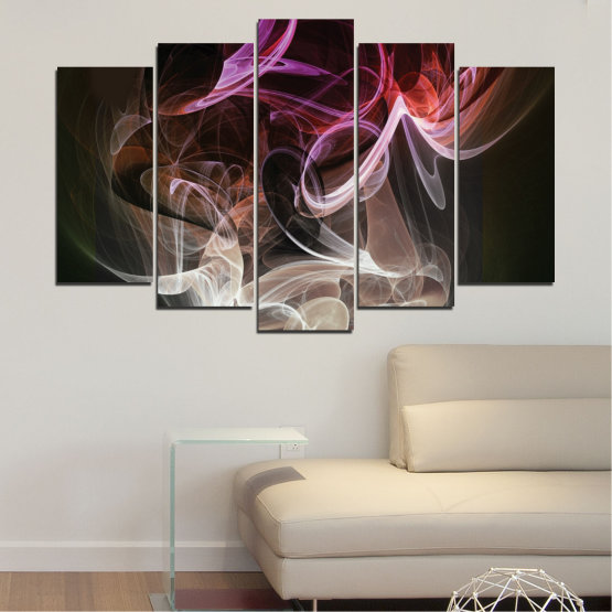 Canvas prints & wall decorative panels - 5 pieces №0333 » Brown, Black, Gray, Dark grey » Abstraction, Colorful, Smoke Form #1