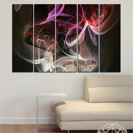 Canvas prints & wall decorative panels - 5 pieces №0333 » Brown, Black, Gray, Dark grey » Abstraction, Colorful, Smoke Form #2